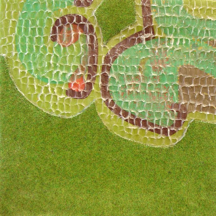 Lawn View, acrylic, wax, and mixed media on canvas, 2006, 12 inches x 12 inches