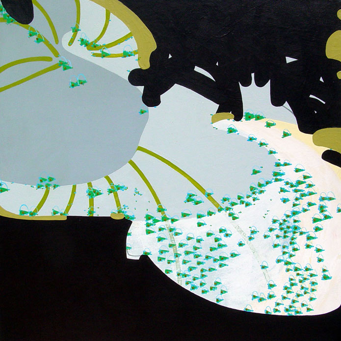 Swarm: Shuttle Flutters Viewed From the Outer Galaxy, acrylic and mixed media on canvas, 2006, 36 inches x 36 inches
